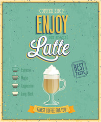 Wall Mural - Vintage Latte Poster. Vector illustration.