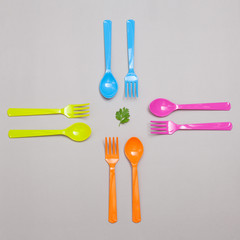 plastic spoon and fork , sharing