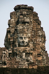 human face image in angkor wat of cambodia