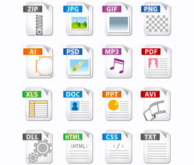web file labels icon set