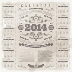 Ornate vintage calendar of 2014 on a grunge background