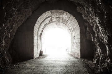 Acrylic Prints Tunnel Glowing exit from dark abandoned tunnel