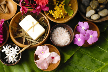 Tropical spa in wellness still life
