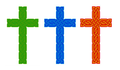 Celtic knot style crosses - green blue and red gold.