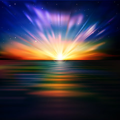 abstract background with sea sunrise and stars