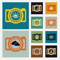 Camera scene icons set vintage color