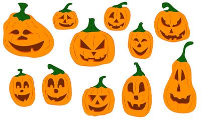 kolorowe dynie z twarzami na halloween
