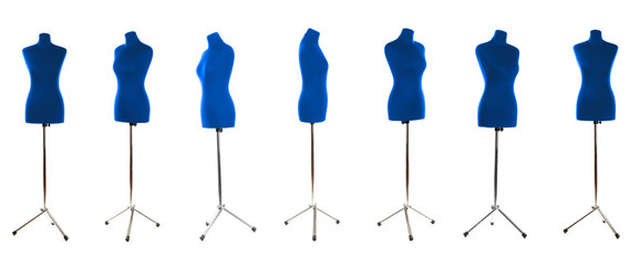 Mannequin in different perspectives isolated on white