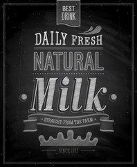 Wall Mural - Vintage Milk poster - Chalkboard. Vector illustration.
