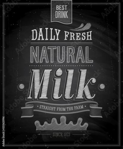 Wall mural Vintage Milk poster - Chalkboard. Vector illustration.