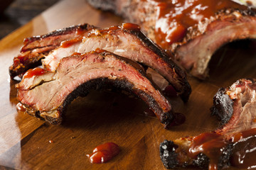 Wall Mural - Smoked Barbecue Pork Spare Ribs