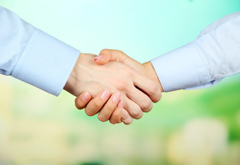 Business handshake on bright background