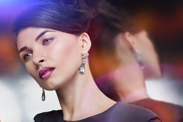 portrait of fashion model posing in exclusive jewelry