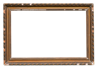 Old Cracked Wooden Picture Frame Isolated On White