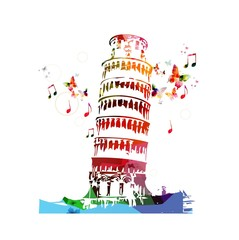 Pisa tower colorful vector.