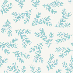 Seamless pattern with blue fir branches