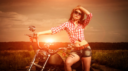 Wall Mural - Biker girl and motorcycle