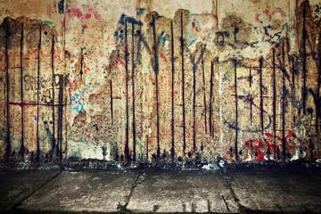 Photo sur Plexiglas Graffiti Grunge, rusty concrete wall with random graffiti
