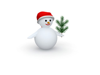 3D snowman with Santa Claus hat and pine branch.