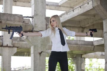 Sexy Gun woman with two guns