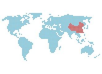 Weltkarte mit Markierung von China