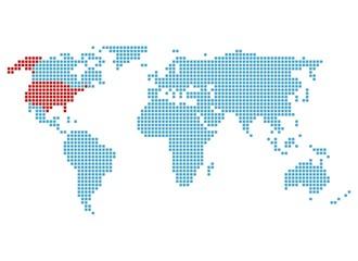 Weltkarte mit Markierung der USA