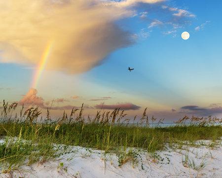 Beach scene on Gulf Coast in Mississippi