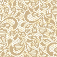 Old lace seamless pattern. Vector texture.