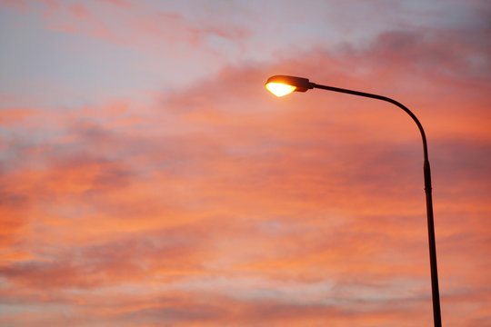 Electric Street lamp at dawn