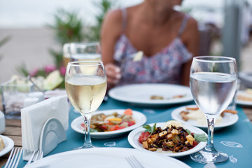 Romantic dinner with white wine.