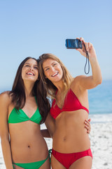 Two sexy friends taking pictures of themselves