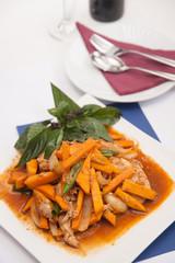 Thai food, Stir fried pumpkin with egg.