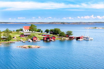Printed roller blinds Scandinavia Small village with red buildings in Finnish archipelago