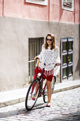 Woman in red start to ride