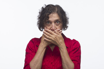 "Woman covering mouth (""speak no evil""), horizontal"