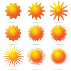 set of sun symbol