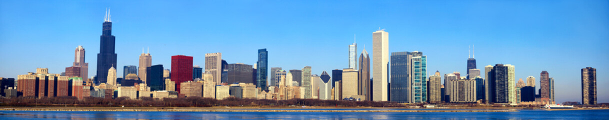 Chicago skyline panorama, IL, USA