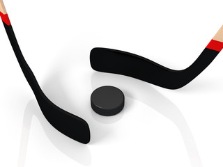 close up of an ice hockey stick and puck