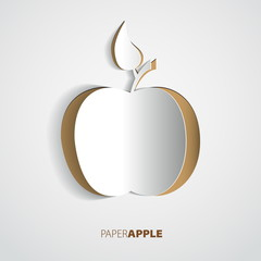 Greeting card with apple from paper - vector