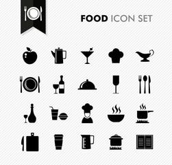 Black isolated Food menu icon set.