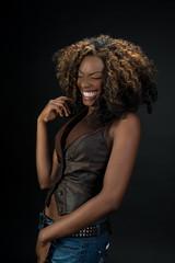 Beautiful African American woman laughing