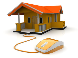 computer mouse connected to house,eal-estate concept