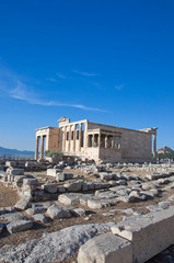 The Erechtheion on Acropolis of Athens in Greece.