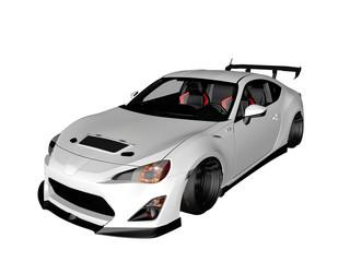 voiture de sport blanche 3D sur fond blanc