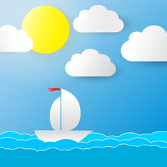 Background with sun, clouds and a boat. Vector illustration.