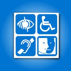etiquette : 4 pictogrammes handicap