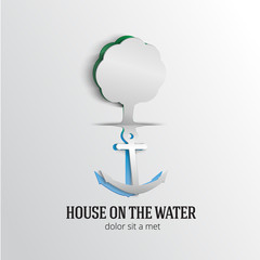 House on the water. Paper design.