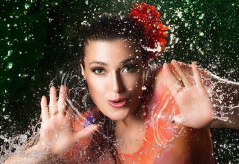Beauty Brunette Girl. Water Splash Woman