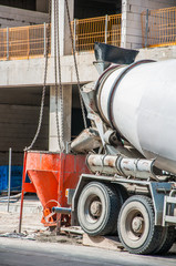 Concrete building, construction site