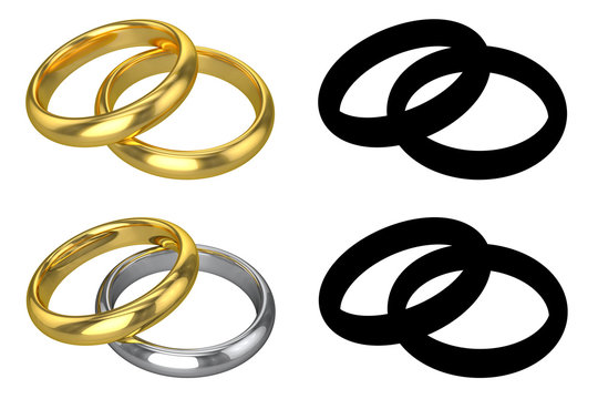 Realistic Wedding Rings - ISOLATED